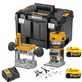 "DeWALT DCW604P2 18V XR BRUSHLESS 8mm (1/4"") ΡΟΥΤΕΡ ΜΕ 2x5.0Ah ΣΕ TSTAK (#DCW604P2)"